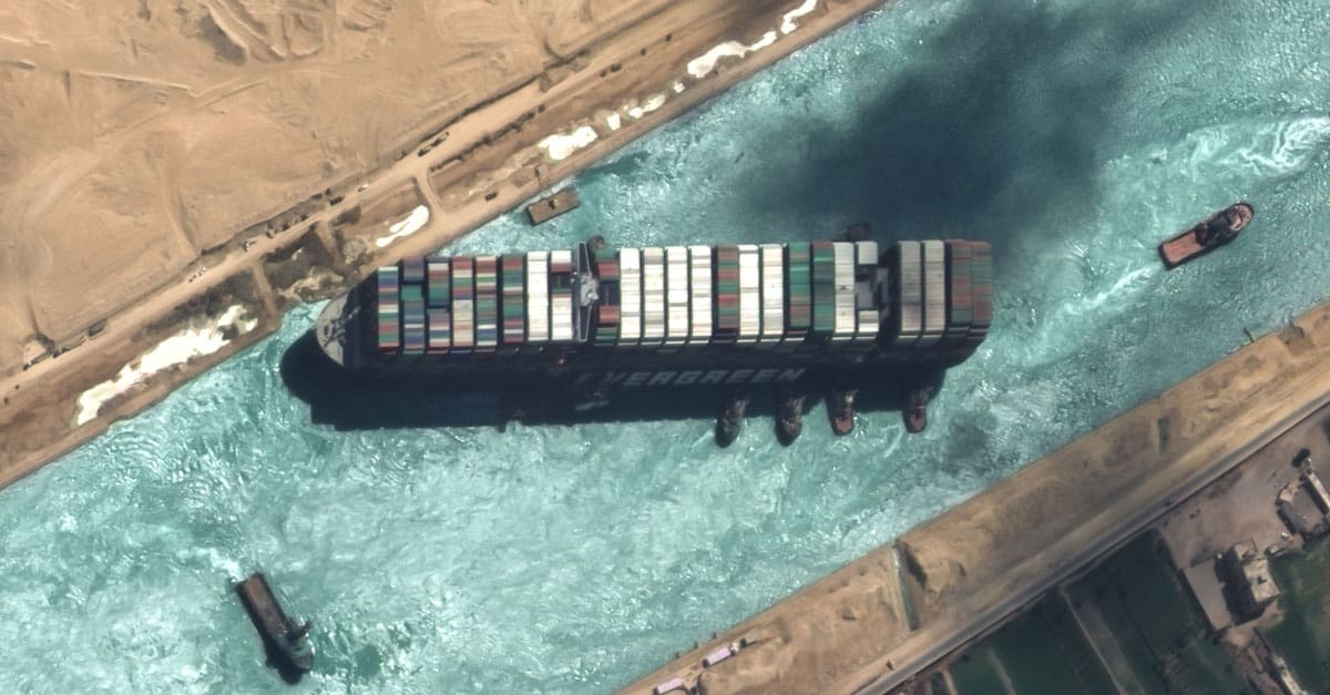 Detailed satellite imager of the freed container ship in the Suez Canal. Satellite image captured with GeoEye-1 at 50 cm resolution ©2021 European Space Imaging.