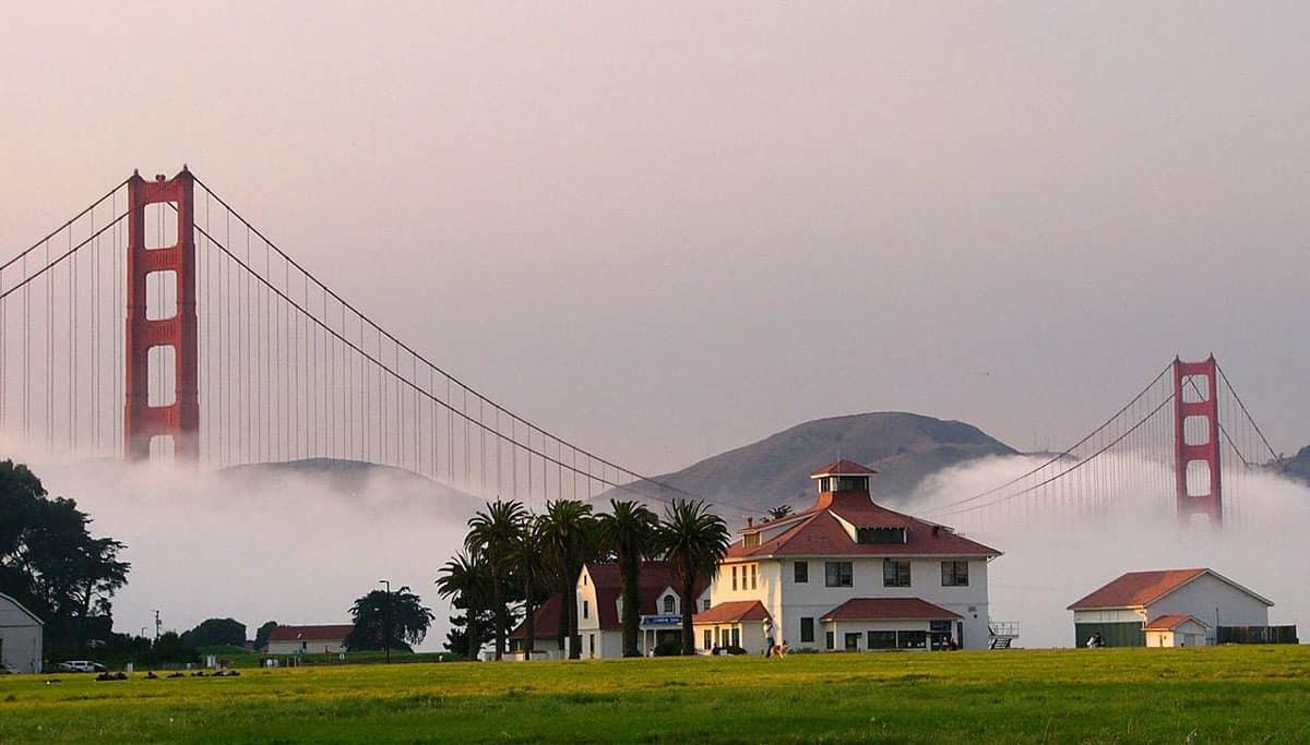 Fog surrounding the Golden Gate.  Photo: NPS, Presidio of San Francisco, public domain.
