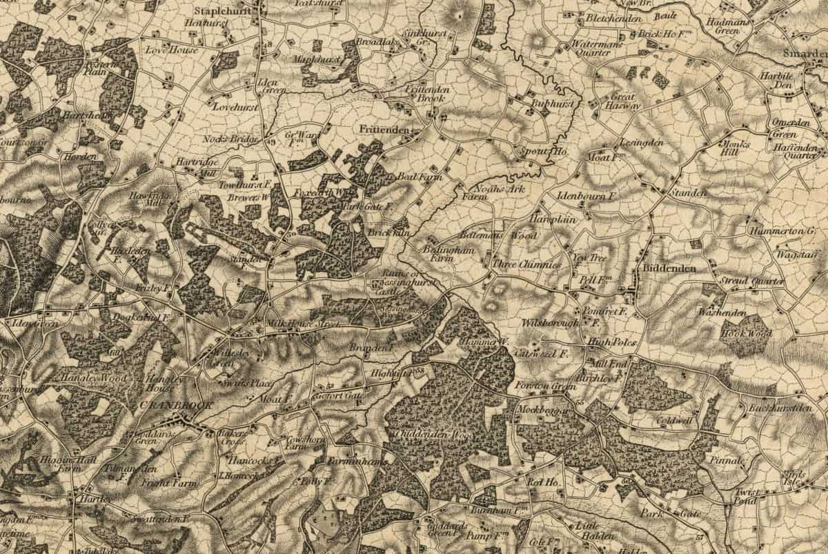 A look at the detail on the 1801 Kent Map from the Ordnance Survey.