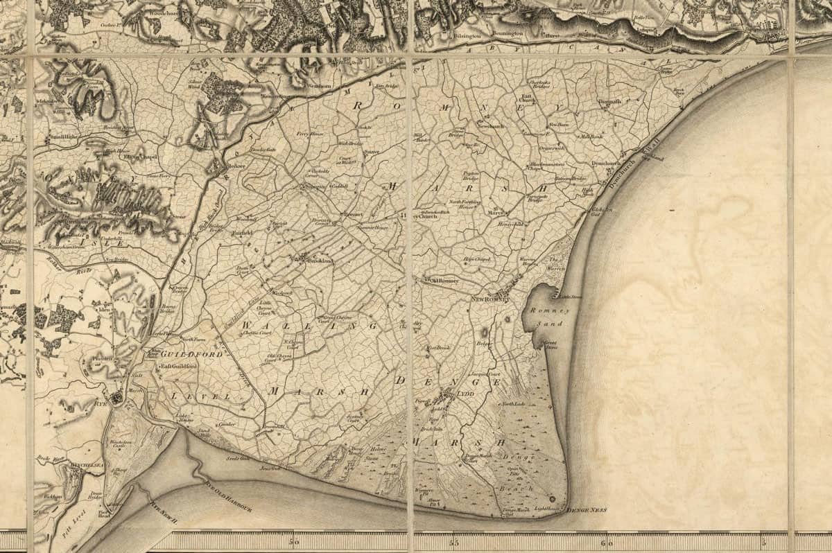 The presence of the Royal Military Canal (built between 1804-1809) on the 1801 Kent map suggests that it was published in 1809.