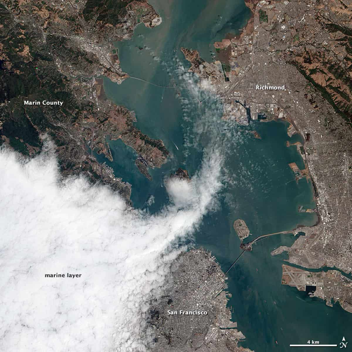 Encroaching fog over the city of San Francisco.  Image; NASA's Earth Observing-1 (EO-1) satellite, August 16, 2012.