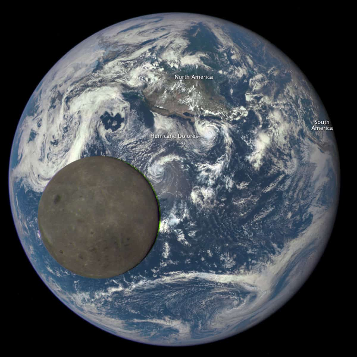View of the Moon transiting the Earth on July 16, 2015.
