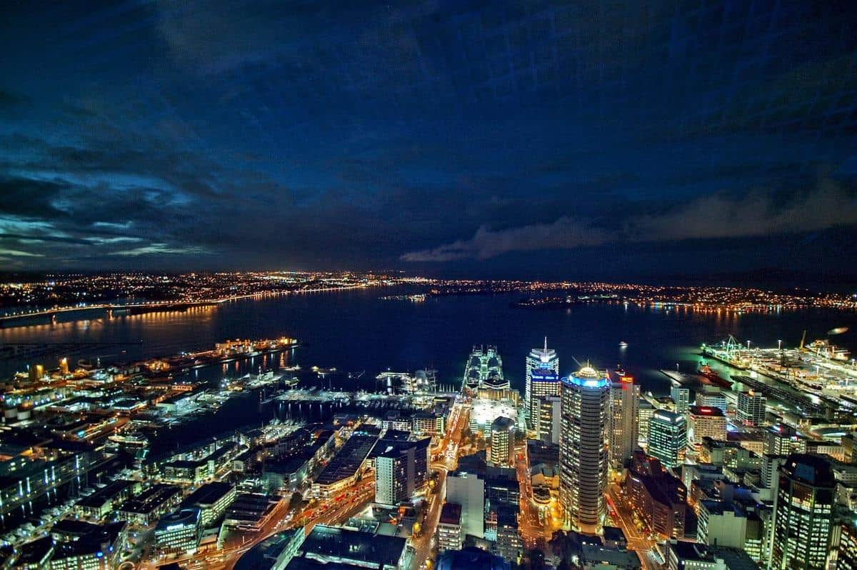 A view over Auckland, New Zealand at night.  Photo: CIA, public domain.