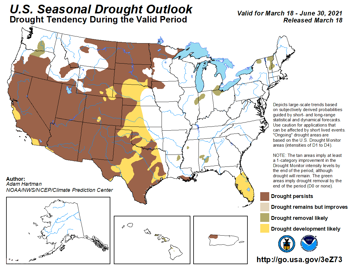 Map of U.S. showing where there is a greater than 50% chance of drought persistence, development, or improvement based on short- and long-range statistical and dynamical forecasts during March 18 through June 30, 2021. Map: NOAA NWS CPC