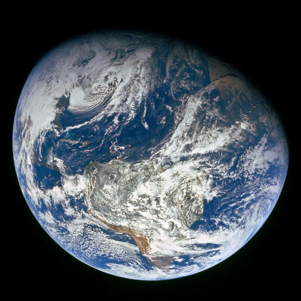 Photo of the Earth taken from space in 1968 showing the Western Hemisphere.