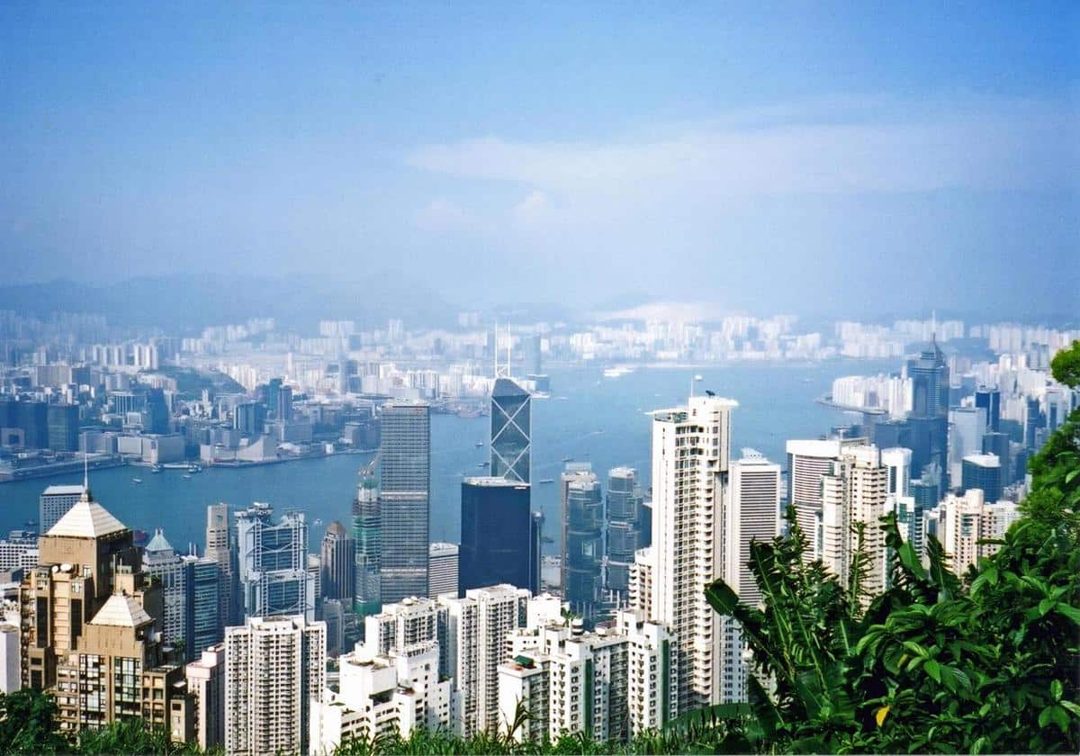 View of the Hong Kong skyline from Victoria Peak.