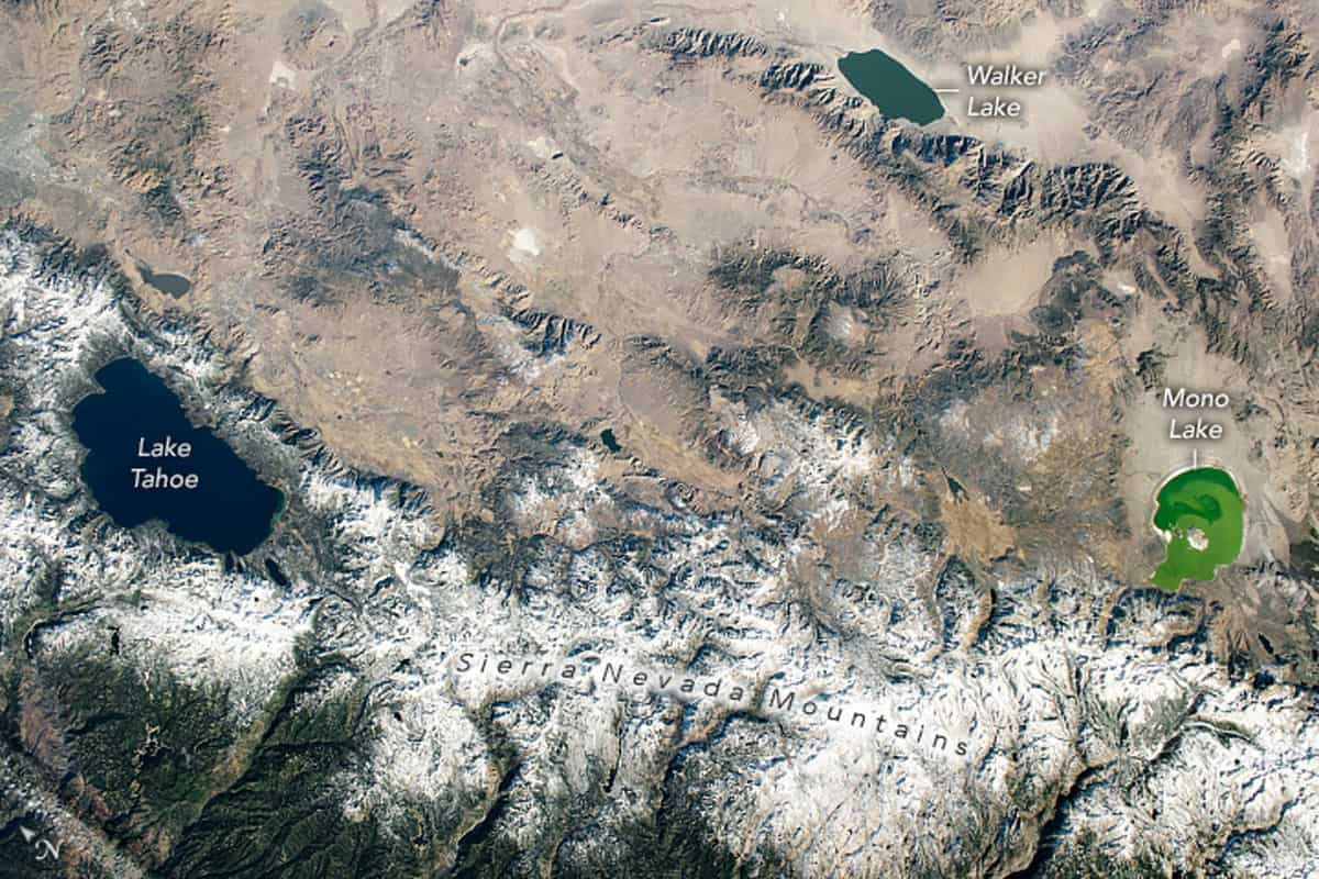 View of Lake Tahoe, Walker Lake, and Mono Lake.  Image: International Space Station/NASA.