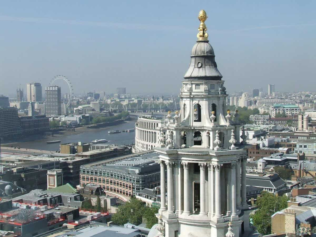 A vista of London from the Golden Gallery, the highest point of the outer dome of St. Paul's Cathedral in London.