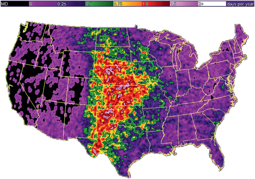 Map of annual hail days per year during 2007–10 in the United States. Source: Cintineo et al., 2012.