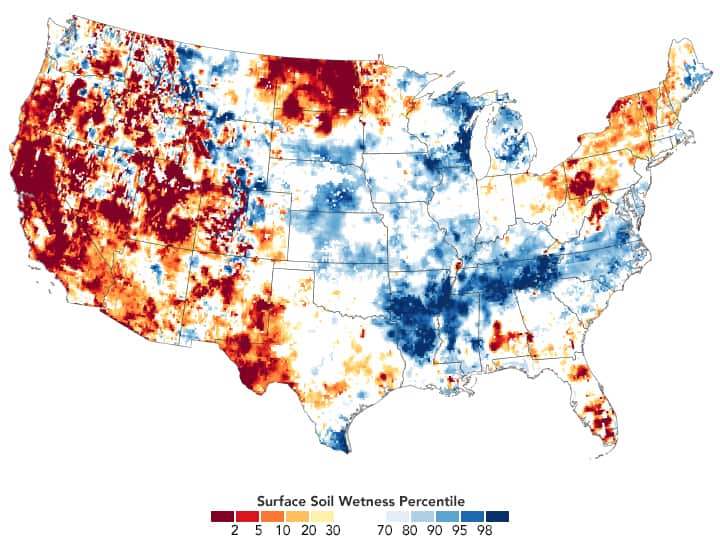 Map of surface soil moisture for the United States as of March 29, 2021.  Source: NASA.