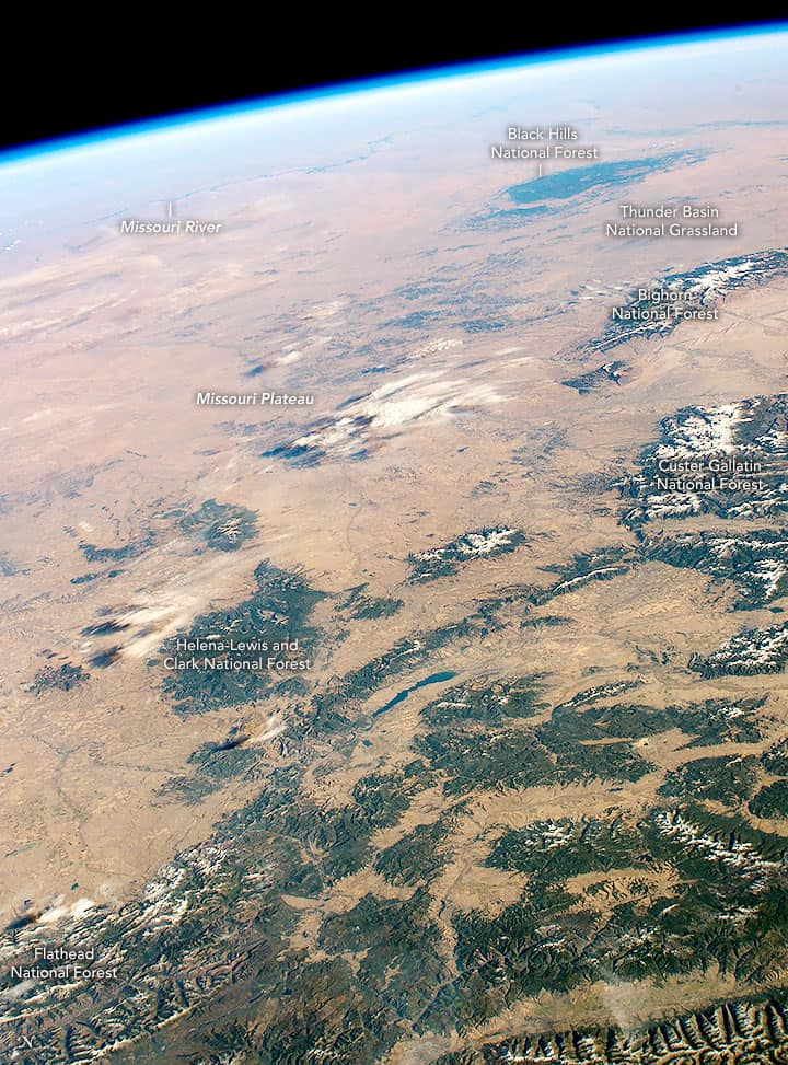 An oblique photograph from the International Space Station showing the Missouri Plateau.  Source: NASA, October 19, 2018.
