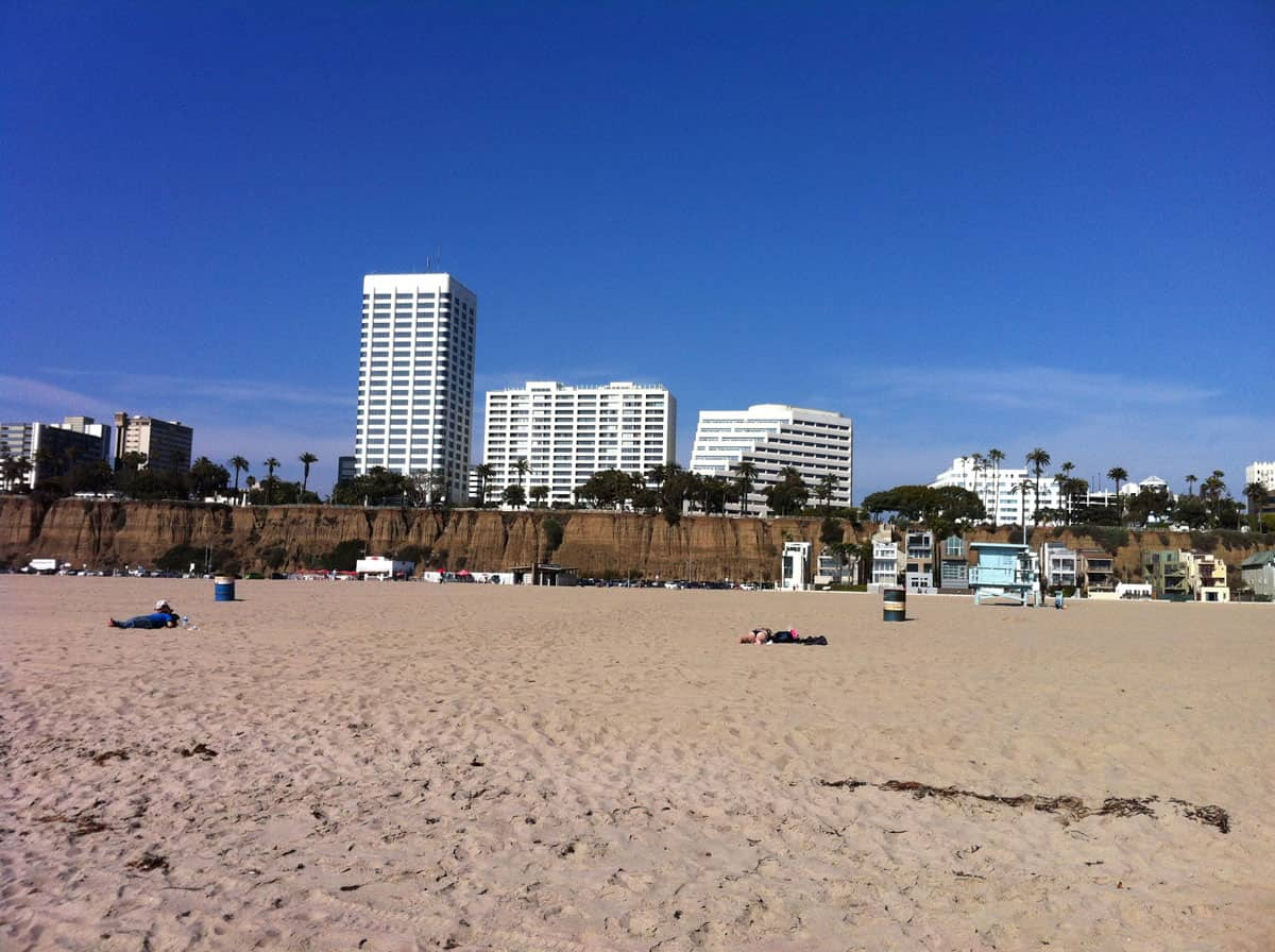 A view of housing from the beach in Santa Monica, a city in the Los Angeles metropolitan area.