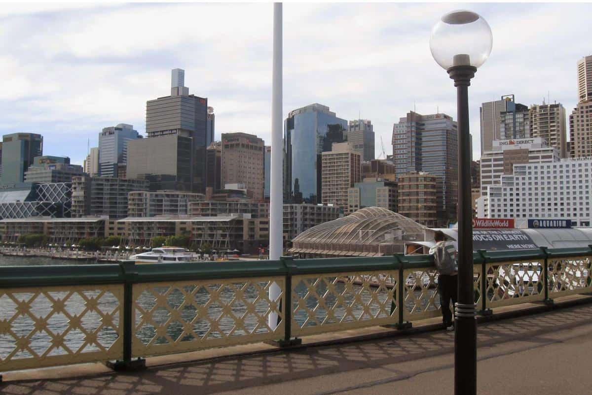 Sydney skyline as seen from a Darling Harbour footbridge. Photo: CIA, public domain.